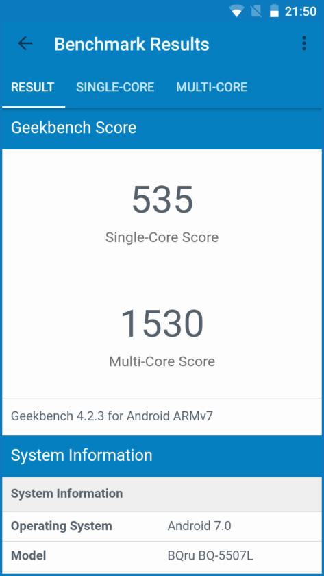BQ-5507L Iron Max - Geekbench 4