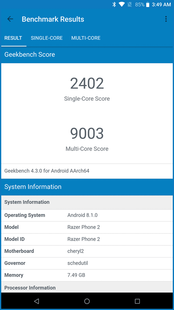 Geekbench 4: Razer Phone 2