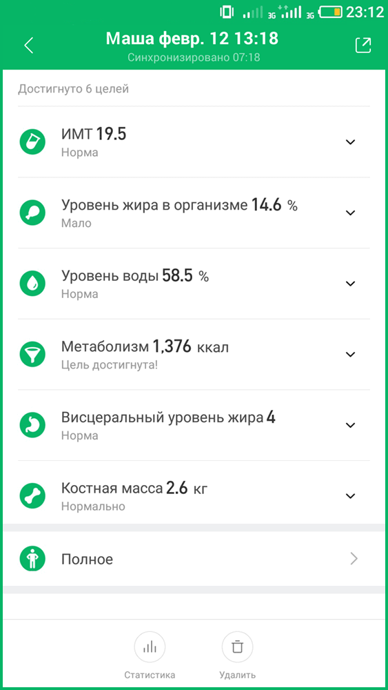 Mi Fit: показания Xiaomi Mi Smart Scale 2