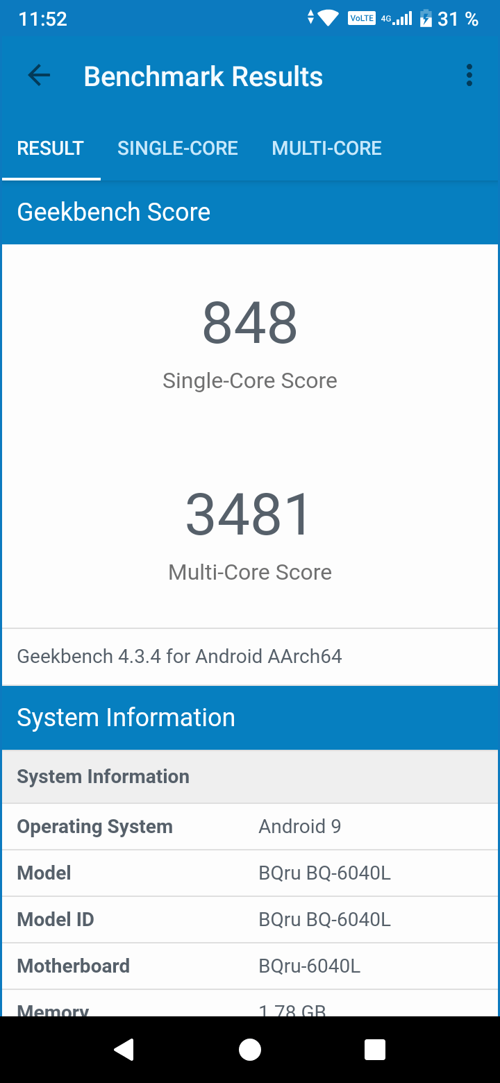 BQ-6040L Magic: Geekbench 4