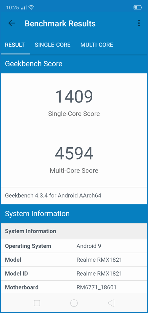 realme 3: Geekbench test
