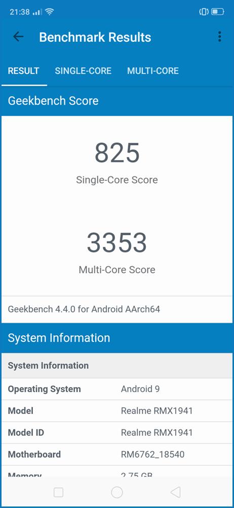 realme C2 - Geekbench 4