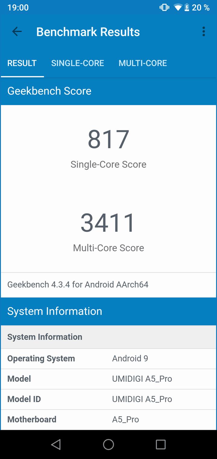 UMIDIGI A5 Pro - Geekbench