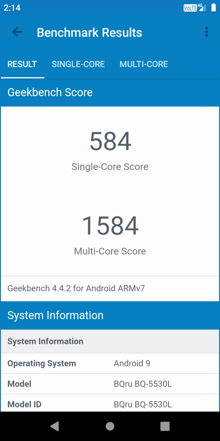 BQ-5530L Intense: Geekbench 4