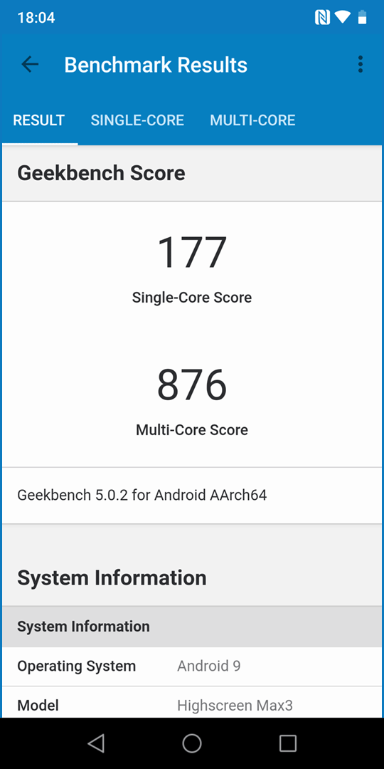 Highscreen MAX 3: Geekbench 4