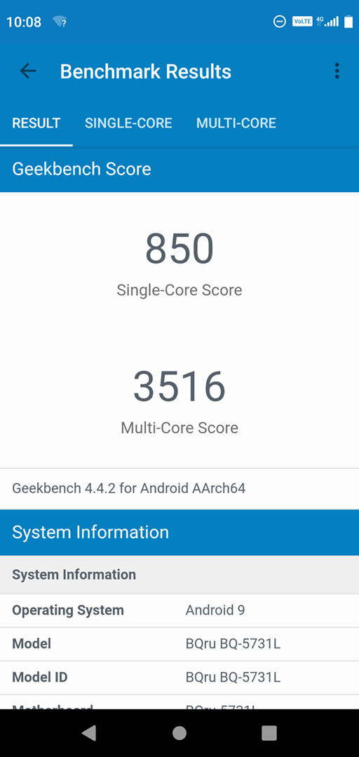 BQ 5731L Magic S: Geekbench 4