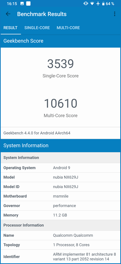 Nubia Red Magic 3S: Geekbench 4