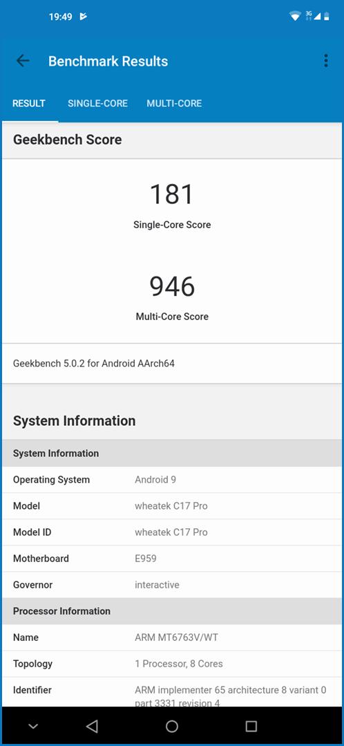 OUKITEL C17 Pro: Geekbench 4